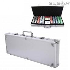 Покер чипове с номинал, луксозен сет 500 чипа в алуминиево куфарче
