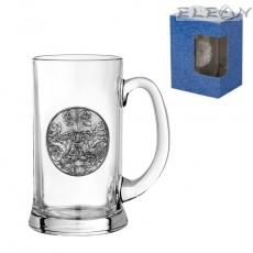Халба за бира с метална гравюра - Двуглав Орел, 500мл, 15см, Gerz DG066