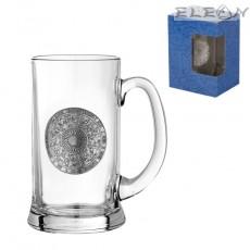 Халба за бира с метална гравюра - кръг зодии, 500мл, 15см, Gerz DG067
