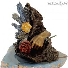 Авторска Скулптура Цвете от Любов, 17см, бронз, микс полускъпоценни камъни, 577215