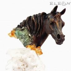 Авторска Скулптура Конска глава, 26см, бронз, планински кристал, мрамор, 577222