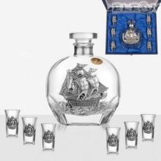 Луксозен комплект за ракия 7 части, 6 чашки и бутилка с орнамент кораб, Freitas F32004