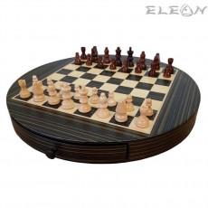 ШАХ с дървени фигури, кръгъл 30см, MDF дъска, цвят венге, GA111