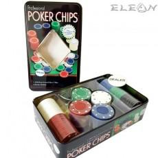 Покер чипове 100 броя в 5 цвята, дилърски чип, 8605180