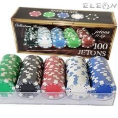 Покер чипове 100 броя със стойка, 5 цвята, 8605304