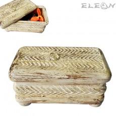 Антична дървена кутия за бижута и аксесоари, състарено бяло, кутия за моливи 23х13см, HI4035W