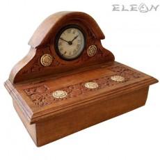 Ретро кутия за бижута с дърворезба и декоративен часовник, винтидж излъчване, 31х17см, HI 4535