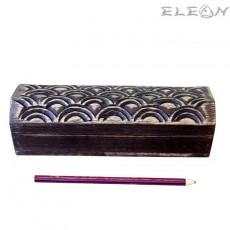 Дървена кутия за бюро с дърворезба, кутия за моливи 23см, HI5752