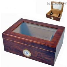 Хумидор с прозорец и външен влагомер, Кутия за Пури 30бр, прозрачен капак, кедрово дърво, Angelo 920110