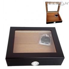 Кутия за пури с прозорец и външен влагомер, Хумидор 15бр пури, кедрово дърво, цвят черен, Angelo 920430