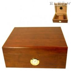 Хумидор - Кутия за пури с външен влагомер, до 25бр пури, кедрово дърво, цвят череша, Angelo 920550