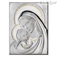 Икона Мадоната с младенеца, сребърна икона с гръб дърво, 22х28м