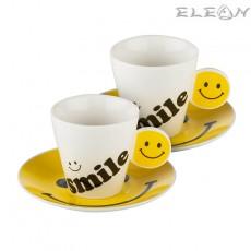 Сет за двама Smile, сервиз за кафе с 2 чаши и 2 чинийки, Lancaster Емотикони
