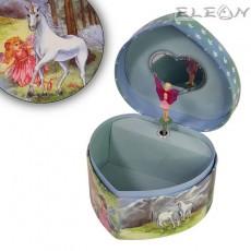 Детска Музикална Кутия с Балерина, форма сърце, еднорог, 15х14 см, Music Kingdom 22111