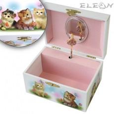 Музикална кутия котета с танцуваща балерина, 15х11 см, Music Kingdom 28062