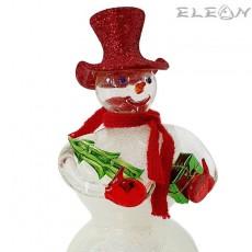 Стъклена фигурка Снежко 15см, коледна декорация стъклена играчка, Lovinbox 891000