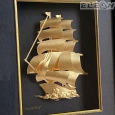 Златна картина Кораб ORH14, 24карата, в черна правоъгълна рамка 33/25см