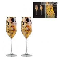 Чаши за шампанско 250мл, сет 2бр чаши с декорация Целувката, RCR Crystal DG039