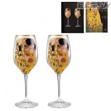 Чаши за бяло вино 300мл, сет 2бр чаши с декорация Целувката, RCR Crystal DG038