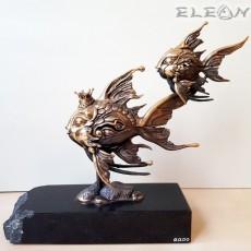 Бронзова скулптура РИБИ върху постамент от черен гранит - RK410, 21см