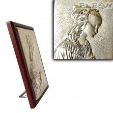 Икона Дева Мария молеща се, сребърна икона 925 с гръб дърво, 10х14см