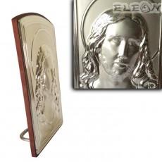 Икона Иисус Христос, сребърна икона 925 с гръб дърво, 8х13см, SM0970