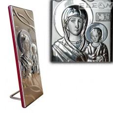 Икона Дева Мария с младенеца, сребърна икона 925 с гръб дърво, 8х20см