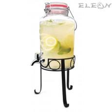 Стъклен Диспенсър за течности на метална стойка с кранче - 3 литра