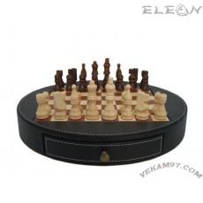 ШАХ кожен кръгъл шах с дървени фигури и дървена дъска - 125