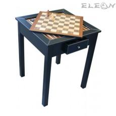 Игрална маса за Шах и Табла с фигури и пулове, дървена с кожена облицовка, черна