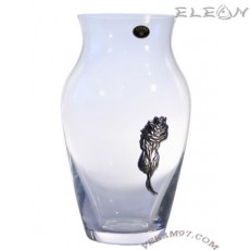 Стъклена Ваза Bohemia 25см, кристалекс, сребърен орнамент роза - 6200