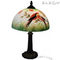 Настолна лампа с абажур от ръчно рисувано стъкло - Птици