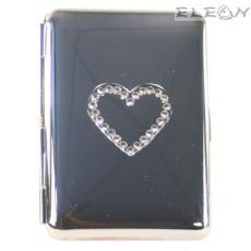 Табакера с кристалчета с форма на сърце, за 80мм цигари, Hadson 309360