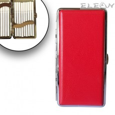Дамска Табакера с кожа, цигари до 120мм, червена, 18бр*SLIM цигари, ZP006336