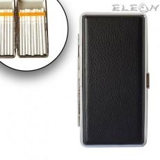 Дамска Табакера с кожа, цигари до 120мм, черна, 18бр*SLIM цигари, ZP006338