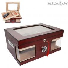 Кутия за пури лукс с външен влагомер, хумидор за кабинет от кедрово дърво, 80бр пури, цвят махагон, 009060