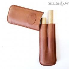 Калъф за пури Corona, двоен, естествена кожа, светло кафяв, ZP009242
