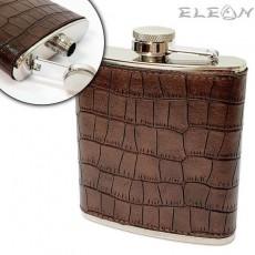 Джобна бутилка за алкохол 180ml, манерка с кожа, кафява, Primus 022193