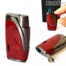 Запалка за пура с двоен JET пламък, вграден пънчер, червена със сиво, Hadson 102980