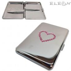 Дамска Табакера сърце, розови кристали Swarovski, 20бр*80мм цигари, 309370