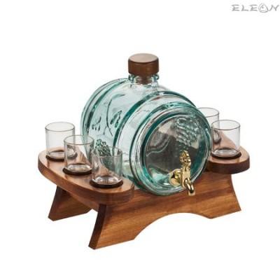 подарък Стъклено Буре за алкохол с канелка + 6 чашки на дървена поставка - 2 литра RF1071