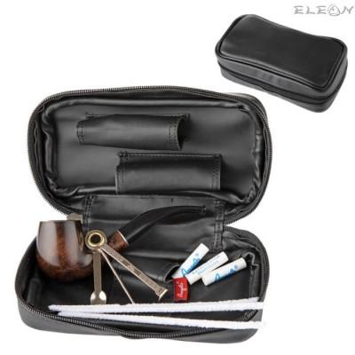 подарък Подаръчен сет за лула от 5 части - извита лула, черна кожена чантичка, почистващ уред, тъпкачка, филтри AK 830420