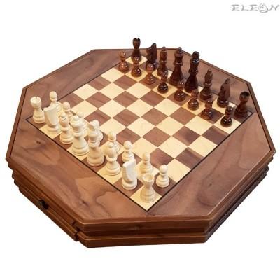 подарък ШАХ с дървени фигури и дървена дъска, 2 чекмеджета за фигурките - 129
