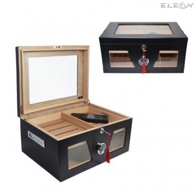 подарък Луксозен кабинетен Хумидор, голяма и стилна кутия за пури побираща 80 и повече пури, 009059