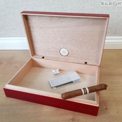 подарък Преносима кутия за пури с външен влагомер в цвят череша. Малък хумидор побиращ до 10бр пури - ZA009423