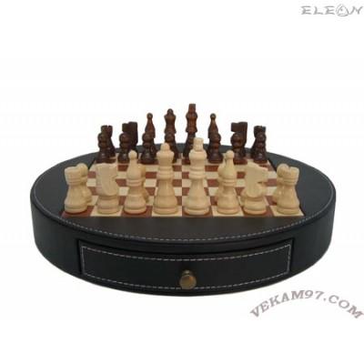 подарък ШАХ кожен кръгъл шах с дървени фигури и дървена дъска - 125
