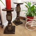 Свещник от дърво стил колона - комплект 2 броя, става и за цветя