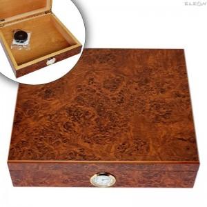 Промоция Кутия за пури с външен влагомер, Хумидор 15бр пури, кедрово дърво, кафяв, Angelo 920170