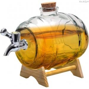 Промоция Стъклено Буре за алкохол с канелка на дървена поставка - 1 литър