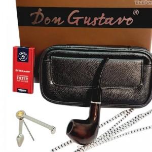 Промоция Луксозен подаръчен сет 5 части - лула, кожена чантичка, почистващ уред, тъпкачка, филтри - DonGustavo 030340